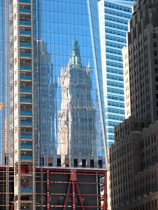 Woolworth reflected in Freedom Tower